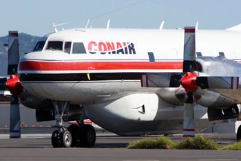 #255 - Construit 1953 au standard CV-340 pour Delta Air Line pour laquelle il vole avec l'immatriculation N4810C. Dans les années 1980 ses moteurs à pistons sont remplacés par des turbines par Sea Airmotive of Alaska qui le transforme ainsi en type CV-580. Il devient un cargo au début des années 1990 pour être transformé quelques années plus tard  en bombardier d'eau par Conair. Il a été loué par la Sécurité civile en France durant les saisons feu 2003 et 2004. Il était basé à Marignane sur la Base avions de la Sécurité civile (BASC). Photographié ici à Avallon au Canada. Photographie Phil VABRE - 2011