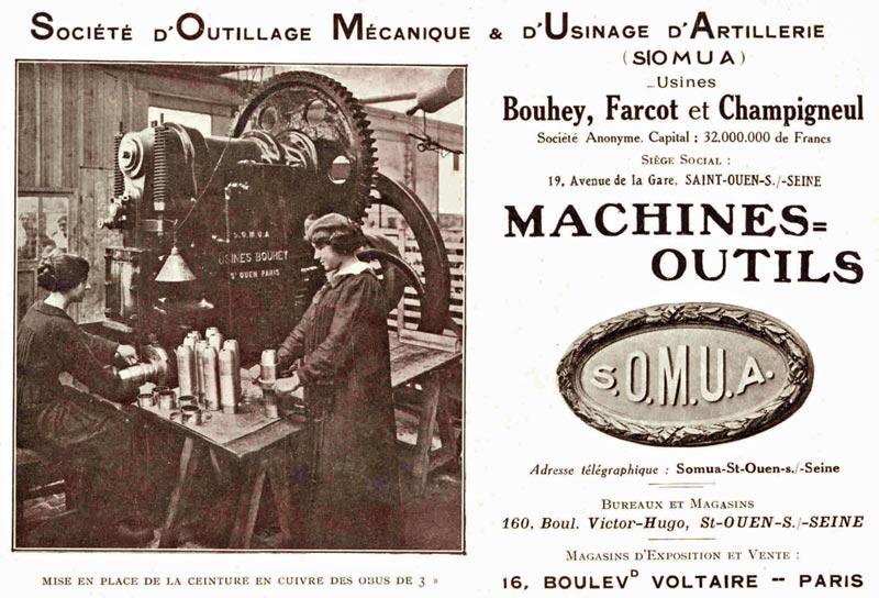 Document publicitaire pour Somua pendant la Première guerre mondiale.
