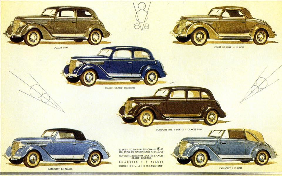 Automobiles conduites intérieures Matford.