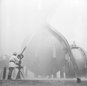 Première intervention des pompiers de la raffinerie
