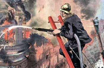 L'ncendie du Printemps à Paris en septembre 1921