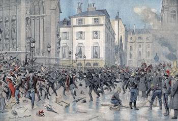 Devant la basilique Saint-Clotilde à Paris en 1905