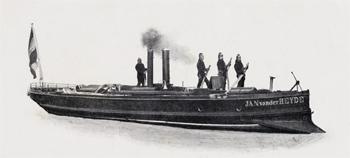 #404 - Bateau-pompe à vapeur en service à Amsterdam de 1875 à 1930. Long de 15 mètres. Capacité hydraulique de 4 000 l/min. Photographie Amsterdam City Archives - 1885