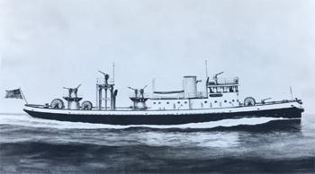 #379 - Plan prototype du bateau-pompe en service à New York de 1931 à 1994. Le navire  a été dessiné en 1930 par l'architecte naval Henry J. Gielow qui en supervise la construction par Todd Shipyards Corporation, Brooklyn NY en 1931.  Photographie Collection John LANDERS & Beth KLEIN - 1930