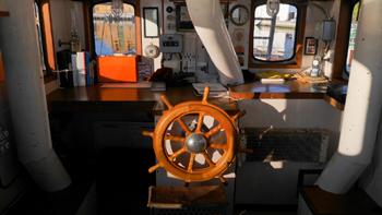Le poste de pilotage du bateau-pompe Nokk de Stavanger, Norvège