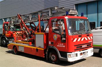 Echelle sur porteur, Sapeurs-pompiers, Bas-Rhin