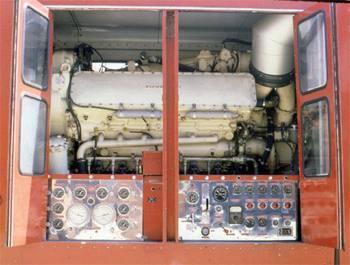 Le moteur Napier Deltic embarqué sur la semi-remorque du Superpumper